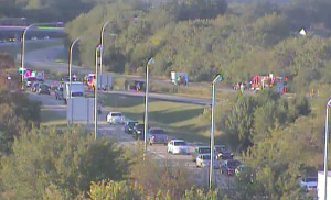 Traffic is diverted off Route 1 at the South Smryna exit (Photo: DelDOT traffic cam)