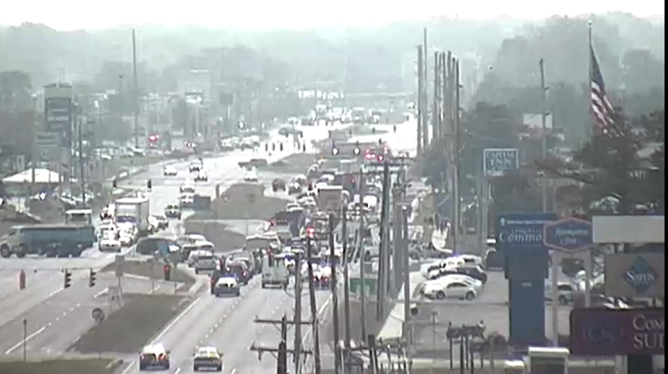 Emergency crews block southbound U.S. 13 in Dover just after 11 a.m. (Photo: DelDOT traffic cam)