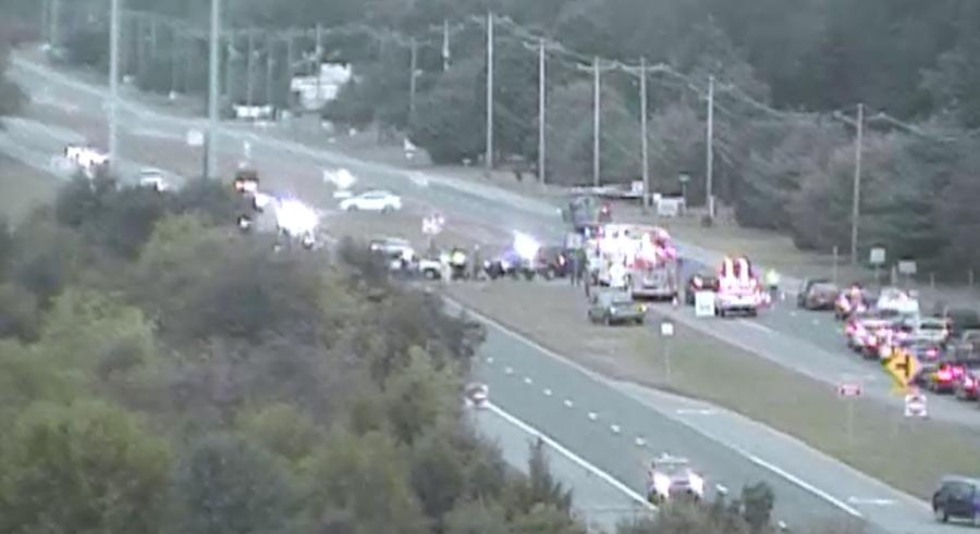 Crash scene on U.S. 13 north of Smyrna (Photo: DelDOT traffic cam)