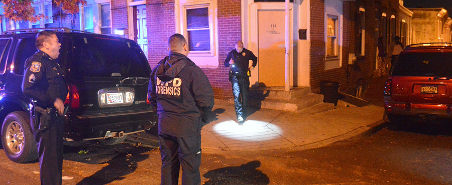 Wilmington police investigate shooting scene in front of 114 N. Franklin St. (Photo: Delaware Free News)