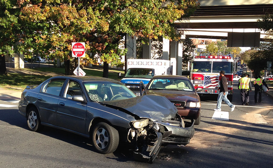 3-vehicle crash in Wilmington involves county police car