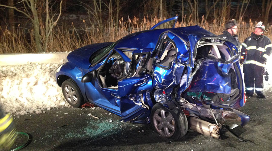 Two people were trapped in the wreckage after crash on Interstate 95. (Photo: Delaware Free News)