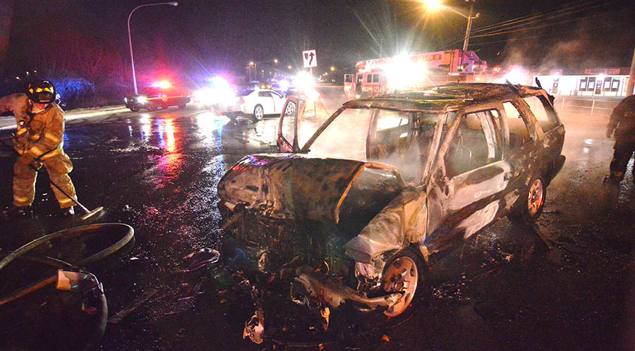 A Chevrolet Blazer SUV burst into flames after colliding with a car on Route 273 west of New Castle. (Photo: Delaware Free News)