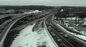 Traffic on northbound I-95 and Route 1 was at a standstill at 8:25 a.m. (Photo: DelDOT traffic cam)