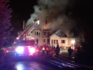 Hockessin firefighters were among those responding when fire destroyed home at 1087 Kaolin Road in Kennett Townshhip, Pennsylvania. (Photo: Delaware Free News)