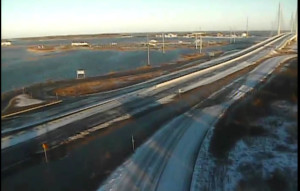 Flooding covered part of Route 1 this morning south of the Indian River Inlet Bridge. (Photo: DelDOT traffic cam)
