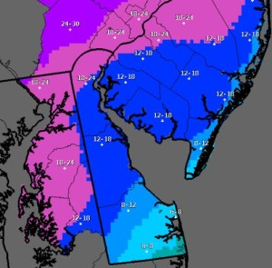 Latest snow predictions from National Weather Service