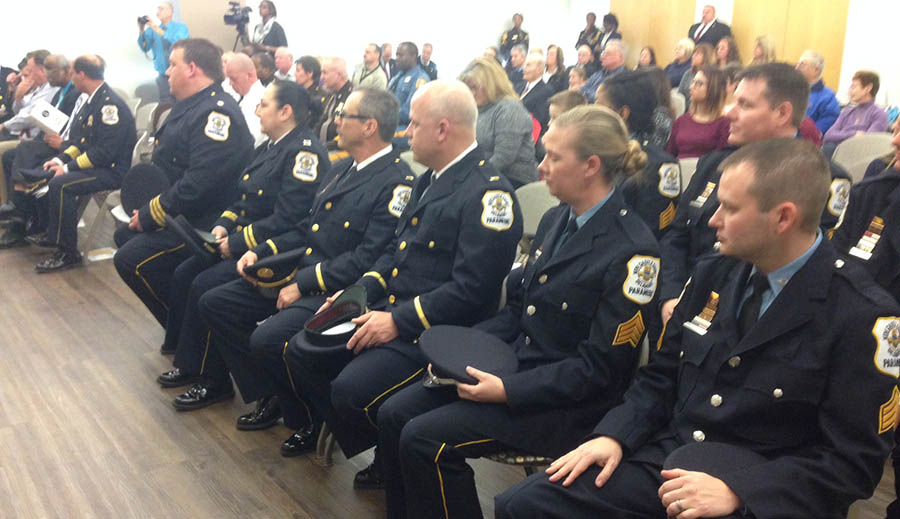 New Castle County paramedics promotion ceremony was held Thursday. (Photo: Delaware Free  News)