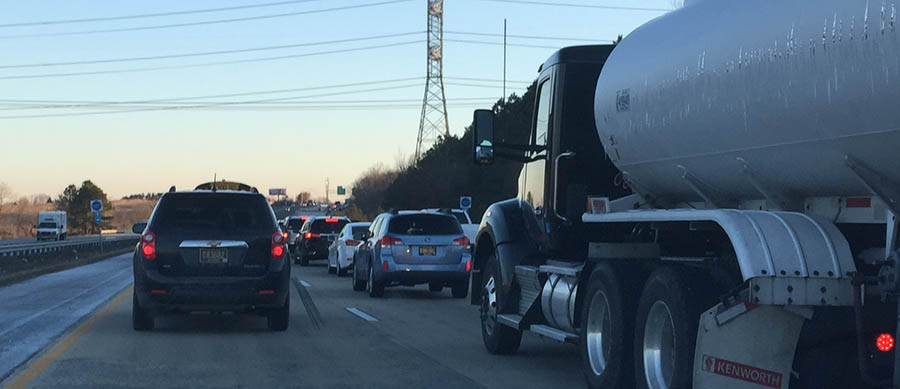 Northbound Route 1 was jammed just before 8 a.m. north of Route 72 after a crash near Route 273. (Photo: Delaware Free News)