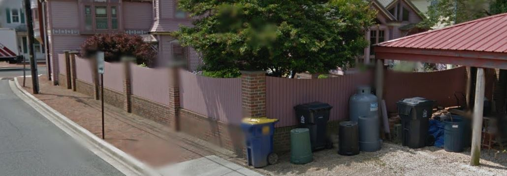 Propane tank is visible along North Street at rear of The Towers B&B in Milford, in a Google maps street view.