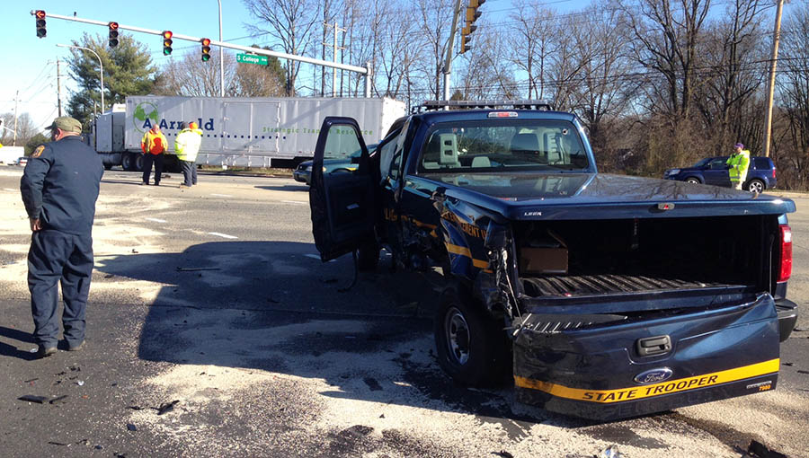 Accident involving state police pickup truck and several other vehicles happened at Route 896 (South College Avenue) and Old Baltimore Pike. (Photo: Delaware Free News)