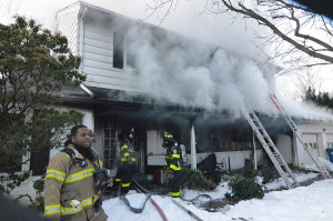 It took firefighters from Delaware and Pennsylvania about an hour to control fire in 100 block of Oldbury Drive in the Westgate Farms development. (Photo: Delaware Free News)
