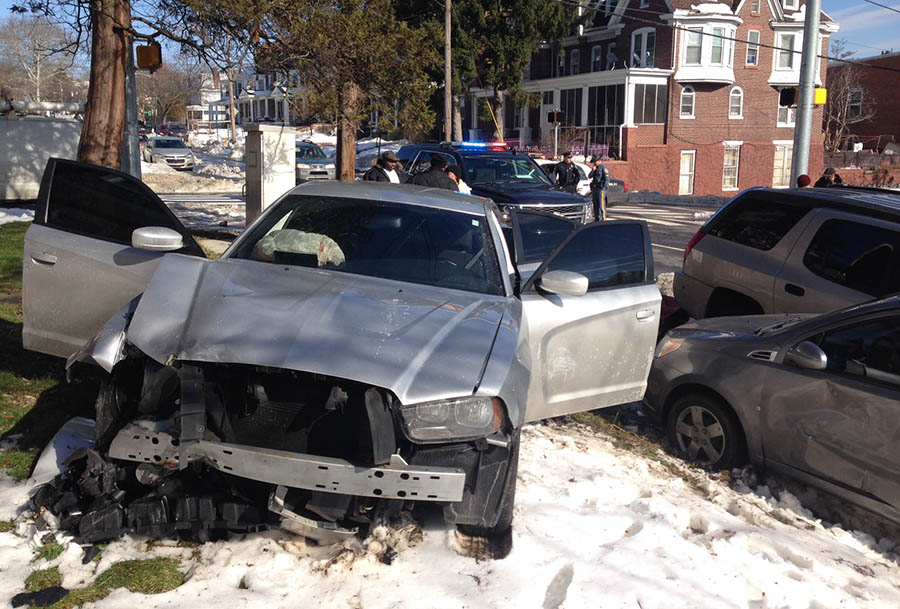 Stolen car crashed into two parked vehicles at Second and Broom streets in Wilmington. (Photo: Delaware Free News)