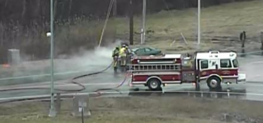 Frederica firefighters extinguished a car fire on Frederica Road, just off southbound Route 1, about 7:15 a.m. (Photo: DelDOT traffic cam)