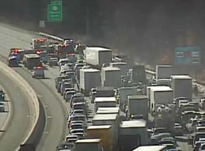 Accident scene on Interstate 95 (Photo: DelDOT traffic cam)