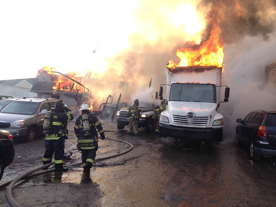 Fire swept through two buildings on Bay West Boulevard at industrial park south of New Castle. (Photo: Delaware Free News)
