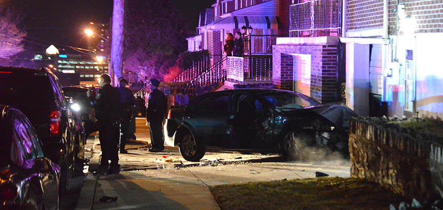 After crashing into a state trooper's car, vehicle being pursued hit building in the 1500 block of Linden St. in Wilmington. (Photo: Delaware Free News)
