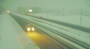 Snow along U.S. 13 at the south end of Harrington (Photo: DelDOT traffic cam)