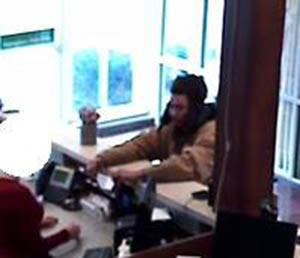 Surveillance image of robbery suspect at WSFS Bank near Rehoboth Beach released by Delaware State Police.