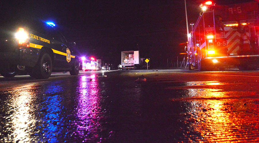 Diesel fuel spilled on roadway after collision of two tractor-trailers on Route 896 in Glasgow. (Photo: Delaware Free News)