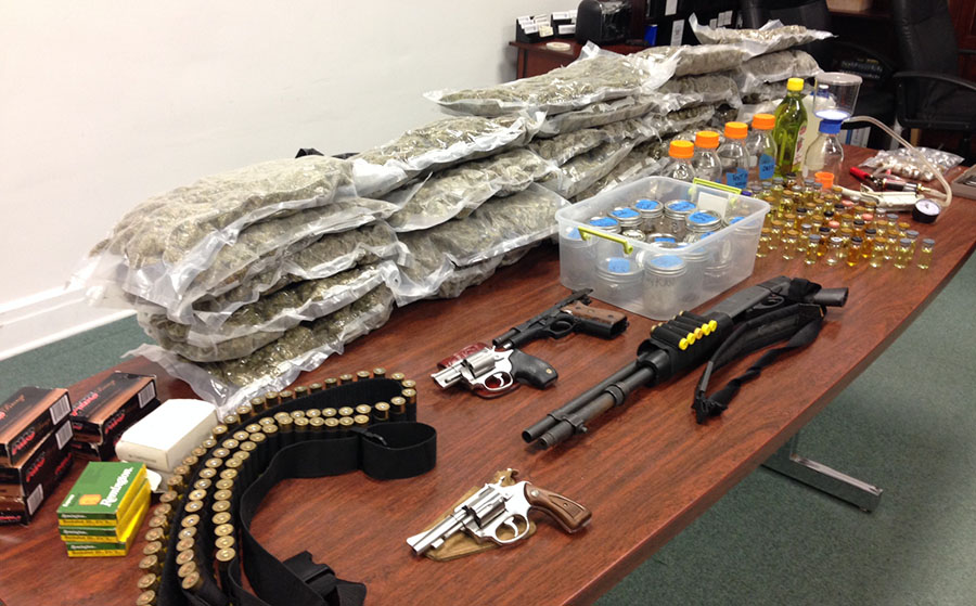Elsmere police displayed items seized in a raid on a home and storage locker. (Photo: Delaware Free News)