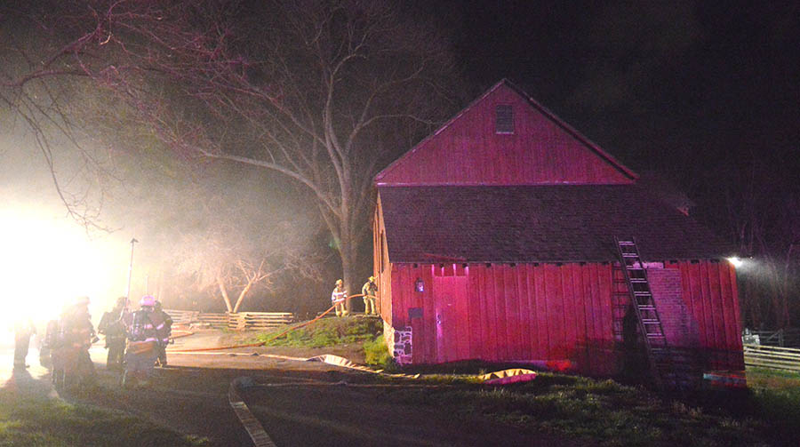 Fire broke out in barn at historic Greenbank Mills. (Photo: Delaware Free News)