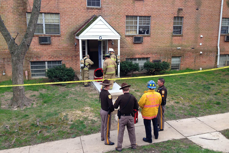 Firefighters used fans to air out building at Hidden Valley Apartments. (Photo: Delaware Free News)