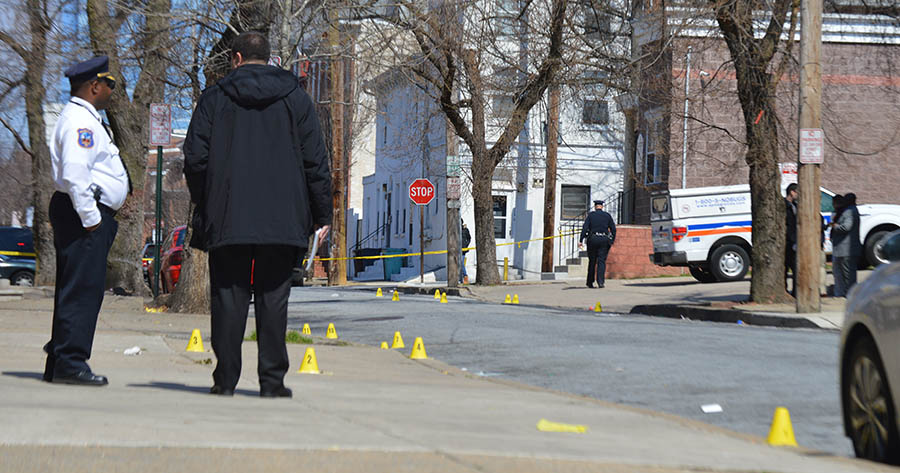 Police placed evidence markers at scene of shooting in 600 block of N. Jefferson St. in Wilmington. (Photo: Delaware Free News)