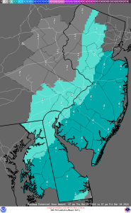 Maximum snowfall potential prediction from National Weather Service for Delaware