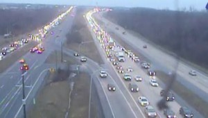 Northbound Route 1 backs up approaching the Roth Bridge at 7:25 a.m. (Photo: DelDOT traffic cam)