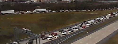 Route 1 delays continued at Route 72 at 8:55 a.m., more than 2 hours after crash south of Tybouts Corner. (Photo: DelDOT traffic cam)