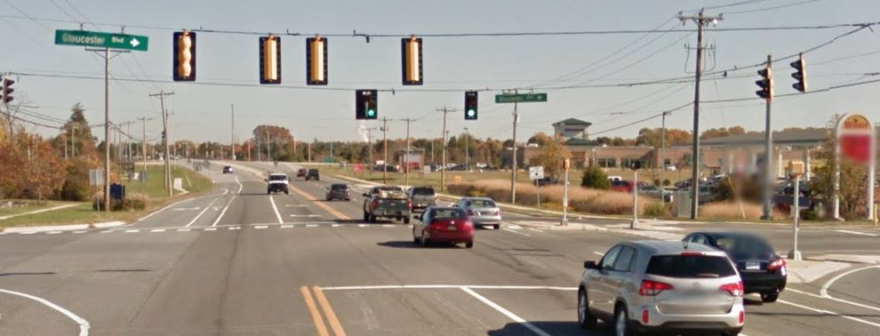 Middletown-Odessa Road (Route 299) at Gloucester Boulevard (Photo: Google maps)