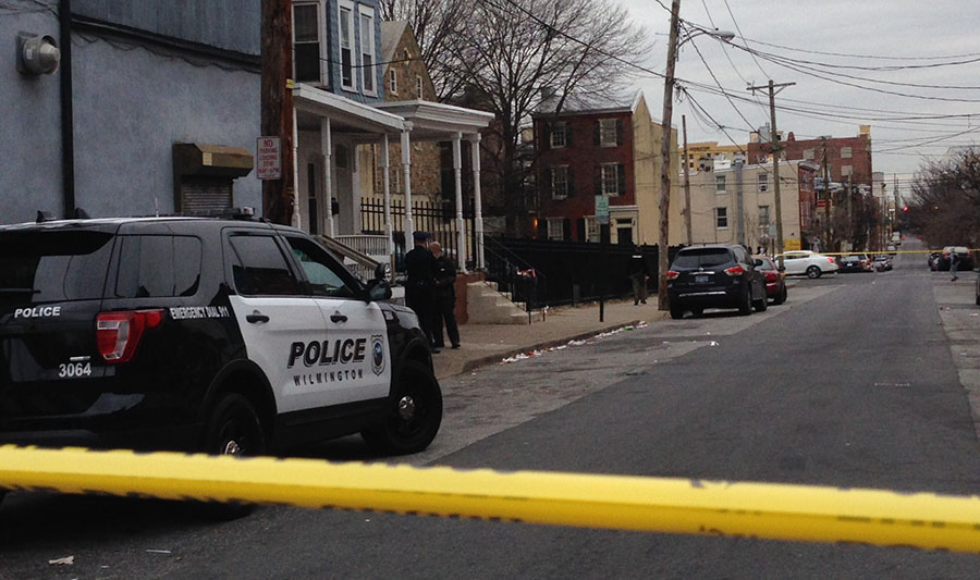Wilmington police investigate shooting in the 400 block of W. Seventh St. (Photo: Delaware Free News)