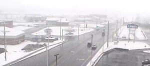 Snow covered the ground but pavement was clear along Herring Run Road at U.S. 13 at 7:20 a.m. (Photo: DelDOT traffic cam)