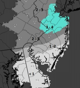 National Weather Service snow accumulation predictions for storm arriving Saturday night.
