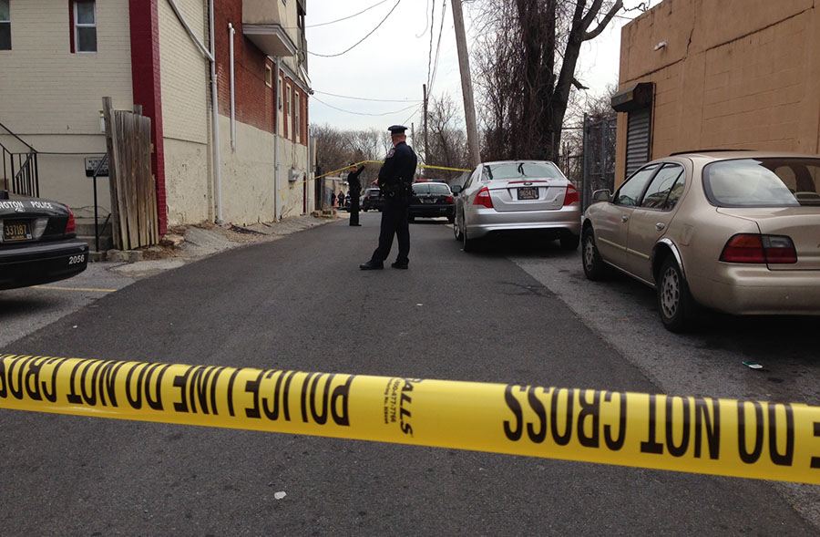 Wilmington police cordoned off shooting scene in first block of Gordon St. (Photo: Delaware Free News)