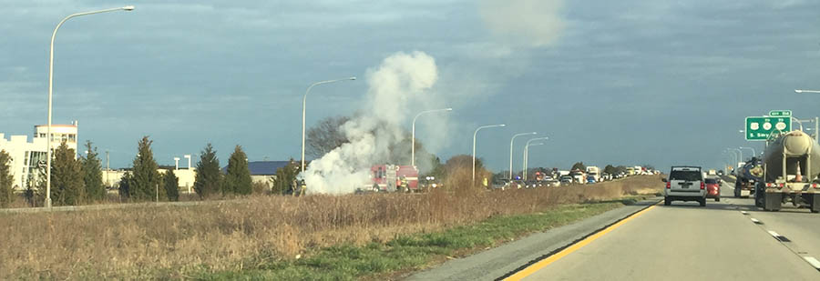 Car fire on southbound Route 1 near south Smyrna exit. (Photo: Delaware Free News)