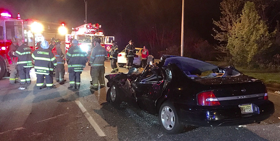 Accident scene on Christiana Bypass off-ramp at southbound Route 1 (Photo: Delaware Free News)