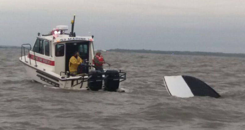 Leipsic Volunteer Fire Company boat was used to rescue three fishernmen after their boat overturned in Delaware Bay off Port Mahon. (Photo: Little Creek Volunteer Fire Company via Facebook)