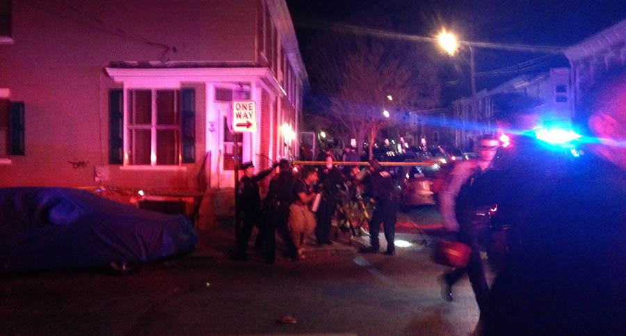 Shooting scene in the 1100 block of Elm St. on Wednesday night (Photo: Delaware Free News)