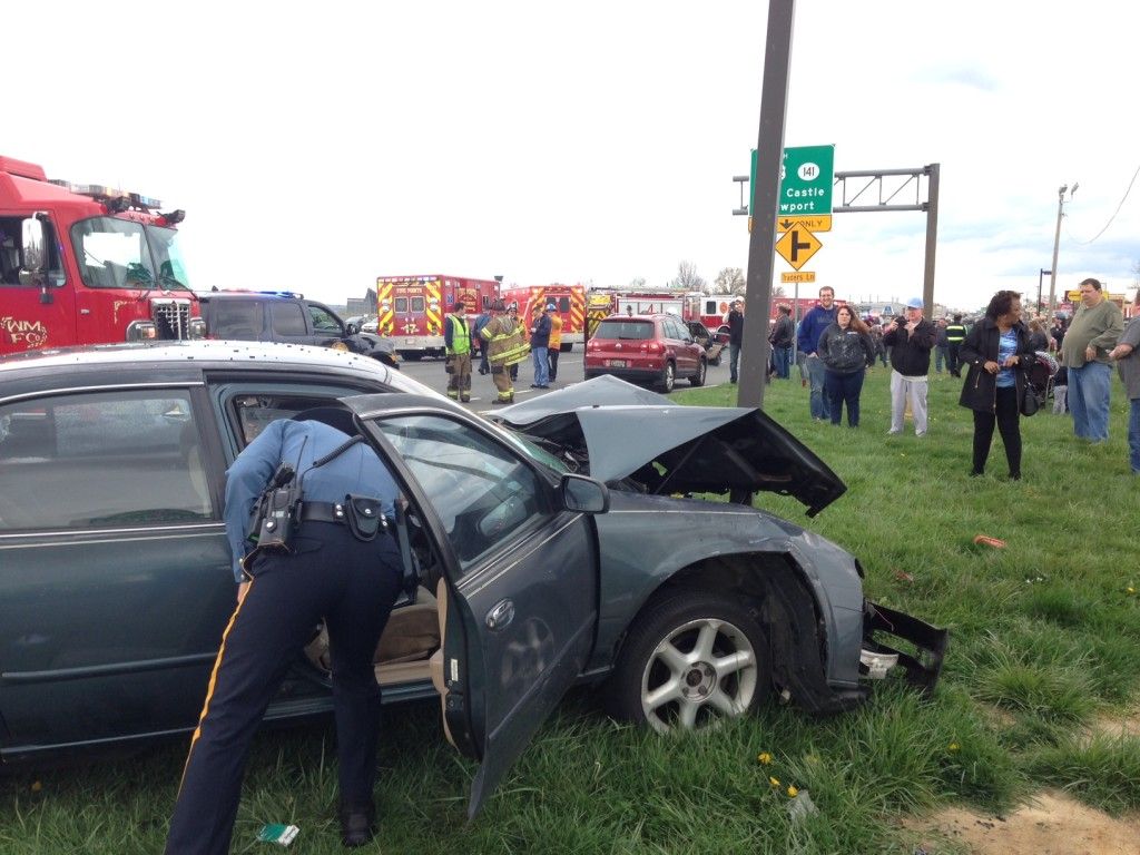 Crash on U.S. 13 in front of Airport Plaza (Photo: Delaware Free News)
