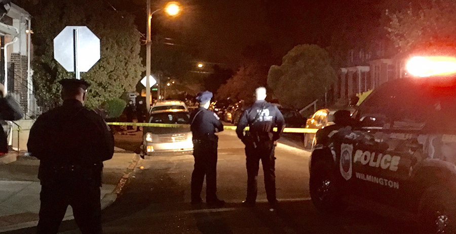 Police investigate shooting on Madison Street in Wilmington. (Photo: Delaware Free News)