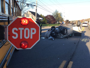Car and school bus collided on Old Baltimore Pike at Albe Drive. (Photo: Delaware Free News)