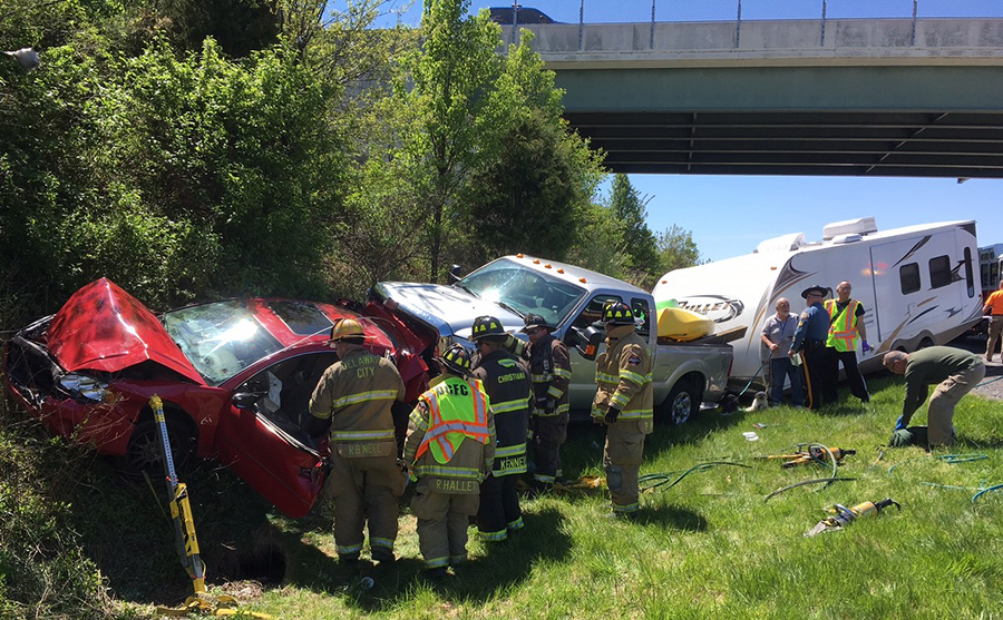 Several vehicles were involved in a crash on northbound Route 1 near School House Road overpass. (Photo: Delaware Free News)