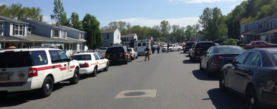 A nearly two-hour standoff at the Saddlebrook town houses ended shortly before 4 p.m. (Photo: New Castle County police)