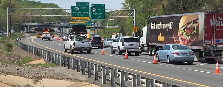 Lane closures caused delays on southbound Interstate 95 near Newark. (Photo: Delaware Free News)