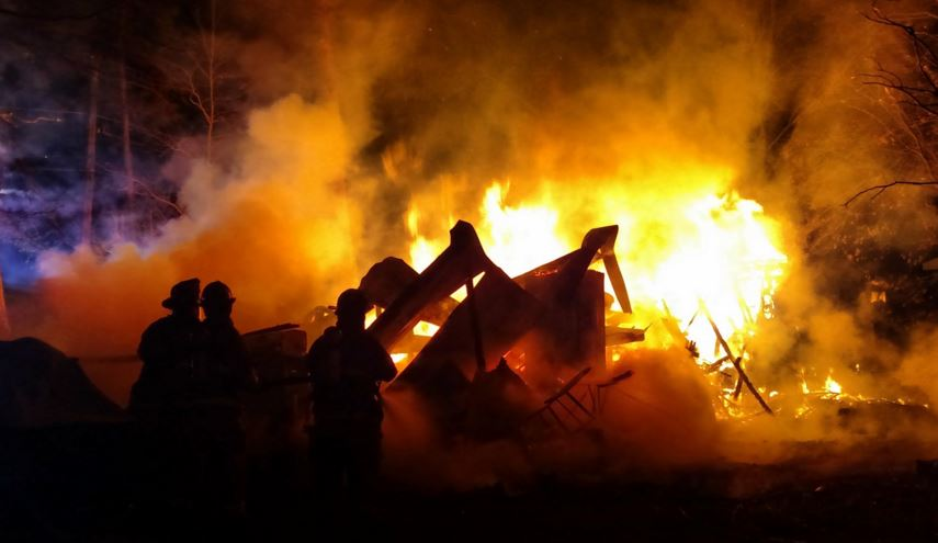 Flames destroyed a trailer east of Millsboro. (Photo: Indian River Volunteer Fire Company)