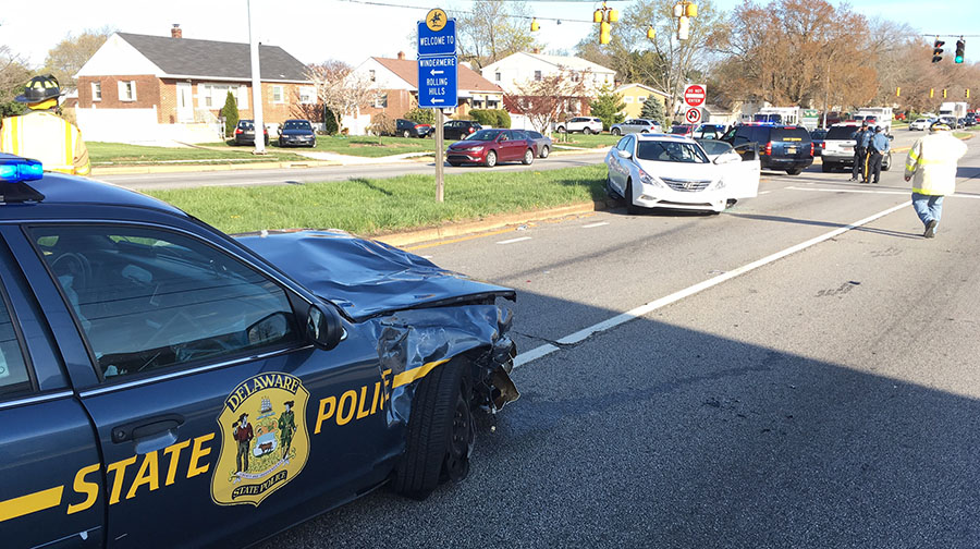 Delaware State Police cruiser and another car collided on Limestone Road in Stanton. (Photo: Delaware Free News)