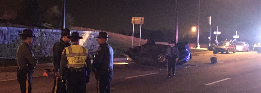 Southbound SUV crossed all lanes of the highway and hit stone wall on northbound side of Concord Pike (U.S. 202). (Photo: Delaware Free News)