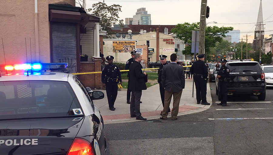 Police investigate shooting of 14-year-old boy at 23rd and North Market streets in Wilmington. (Photo: Delaware Free News)